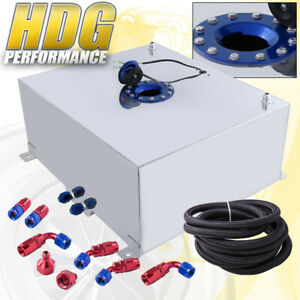 Aluminum Fuel Cell Gas Tank 21 Gallon 80 Liters Blue Cap Oil Feed Line
