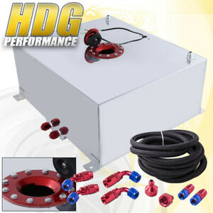Aluminum Fuel Cell Gas Tank 21 Gallon 80 Liters Red Cap Oil Feed Line