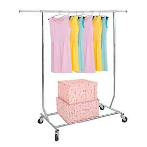 Portable Clothing Garment Rack Adjust Height Length Collapsible Rolling Wheels