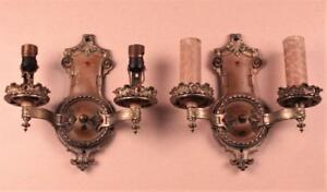 Signed Antique 1920s Pair Art Deco Empire Painted Two Candle Sconces Wall Lights