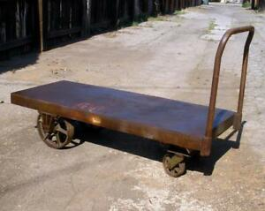 Vintage Antique Sichel Industrial 5 Iron Platform Rolling Cart Dolly Steampunk