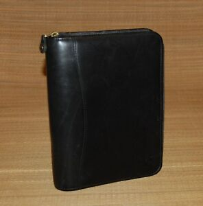 Classic 1 5 Rings Black Leather Franklin Covey Zip Planner binder Gold Rings