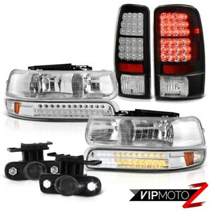 00 06 Chevy Tahoe Crystal Led Bumper Headlights Bulbs Tail Lights Projector Fog