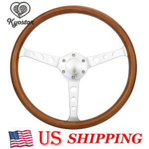 15 Classic Wood Grain Silver Round Hole Brushed Spoke Steering Wheel Horn Kit