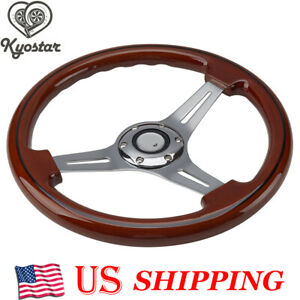 14inch Alloy Wood Grain Trim Classic Wooden Chrome Spoke Steering Wheel Wooden