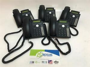 Lot Of 5x Snom 300 Voip Bussiness Phones W Handsets And Stands Black Rohs