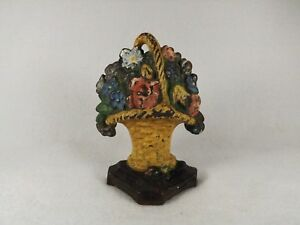 Antique Hubley Cast Iron Basket Of Flowers 4 Doorstop All Original Paint No 4