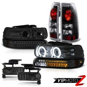 1999 02 Chevrolet Silverado 2500 Ccfl Angel Eye Headlight Lights Black Foglight