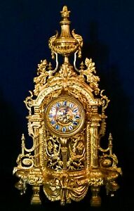 Outstanding Huge Empire French Antique Gilt Bronze Clock 19th 32 5lbs 28 5 H