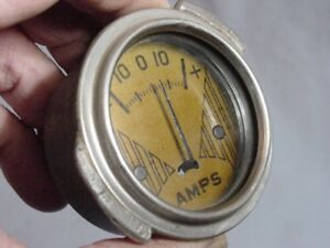 Vintage Amp Gauge With Gold Face Dodge Chrysler Plymouth Desoto 1934 1935 1936