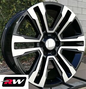 Chevy Avalanche Wheels 2017 2018 Gmc Yukon Denali 20 Inch Black Machined Rims