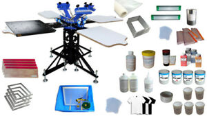 Starter Hobby Kit 4 Color Screen Printing Prtess Materials With Flash Dryer