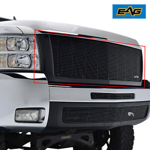 For 07 10 Chevy Silverado 2500 3500 Replacement Black Main Upper Grille W shell