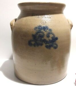 Antique 19th C 2 Gal Whittemore Stoneware Crock Havana Ny Cobalt Blue