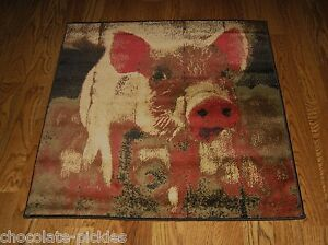 Large Pig Hog Throw Rug Primitive Home Kitchen Farmhouse Country Cabin Decor Nwt