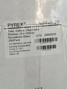 Pyrex Glass 20x150mm Tube 2 Cases 250 Tubes Per Case