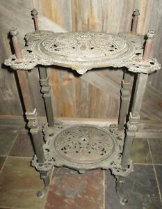 Ornate Antique Victorian Cast Iron Reticulated Brass Copper Plant Stand Table