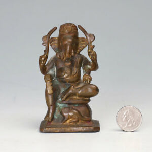 Antique Fine Bronze Hindu Deity Ganesh Sculpture Quality Cast Figure