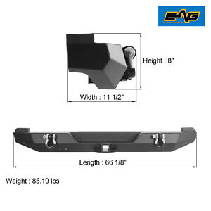 Eag Led Lights Rear Bumper With Winch Plate For 84 01 Jeep Cherokee Xj