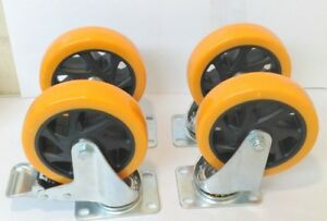 Lot Of 4 Heavy Duty 5 Inch Caster Plate Pu All Swivel Wheels W 2 Brakes