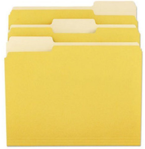 Universal Colored File Folders 1 3 Tab Letter Yellow Unv10504 Case Of 5 500