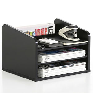 Desktop Organizer Wood Office Supplies Paper Book Stand Storage Shelves Black