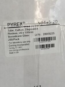 Pyrex Glass 20x150mm Tube 1 Case 250 Tubes