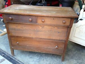 Antique Oak Dresser With 4 Drawers Over 100 Years Old