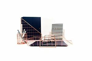 Blu Monaco Rose Gold Desk Organizer 4 Piece Accessories Set Letter Paper Tray