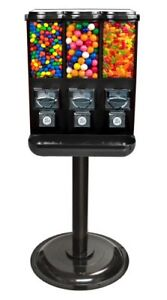 Triple Time Gumball Candy Vending Machine Black