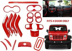 20pc Red Interior Trim Covers Kit For 2011 2017 Jeep Wrangler 4 Door New Usa