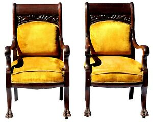 Antique Early 20th C Pair Of Rosewood Parlor Chairs In Mustard Yellow Velvet