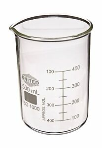 United Scientific Bg1000 500 Borosilicate Glass Low Form Beaker 500ml Capaci