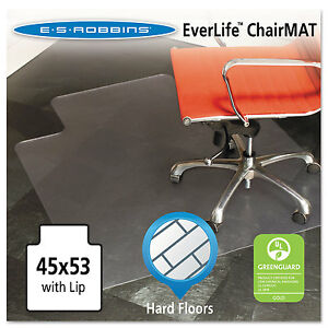 Es Robbins 45x53 Lip Chair Mat Multi task Series For Hard Floors Heavier Use
