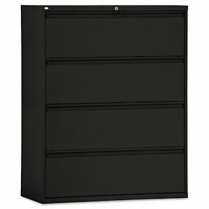 Alera Four drawer Lateral File Cabinet 42w X 19 1 4d X 53 1 4h Black Lf4254bl