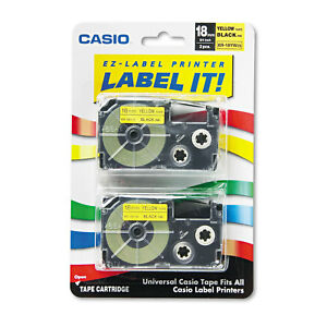 Casio Tape Cassettes For Kl Label Makers 18mm X 26ft Black On Yellow 2 pack