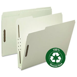 Smead Recycled Pressboard Fastener Folders Letter 2 Exp Gray green 25 box