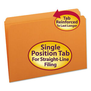 Smead File Folders Straight Cut Reinforced Top Tab Legal Orange 100 box 17510