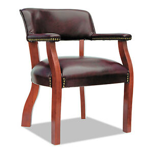 Alera Traditional Series Guest Arm Chair Mahogany Finish oxblood Vinyl Td4336