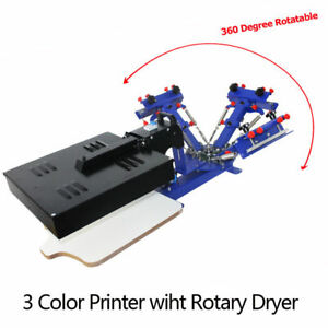 3 Color Screen Printing Printer Attach With Flash Dryer 1station Table Press Diy