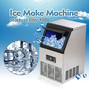 110lb 110v 230w Auto Commercial Ice Maker Cube Ice Machine Stainless Steel Bar