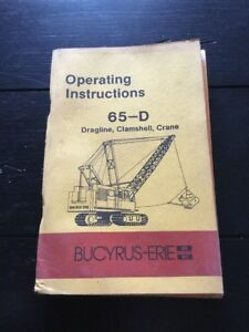 Bucyrus erie 65 d Crane Operating Instructions Manual