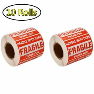 10 Roll 2x3 Fragile Stickers Handle With Care Thank You Shipping Labels 500 roll