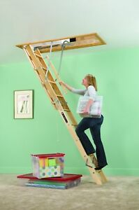Wood Attic Ladder 8 10 Ft Ceiling Height Universal Opening Fit Pull Down Stair