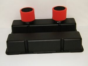 Sbc Black Aluminum Valve Covers Circle Track With Breather Filters Chevy