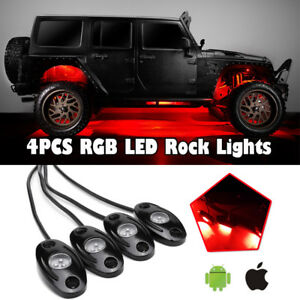 4 Pods Led Rock Lights Set Multi Color For Jeep Off Road Truck Boat Accessories