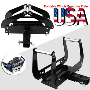 Foldable Winch Cradle Mount Mounting Plate Bracket 4wd Truck Trailer Atv 2 hitch