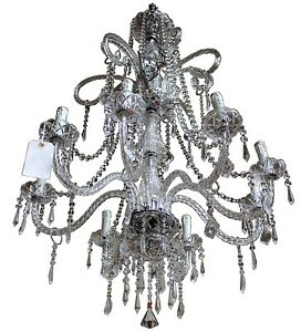Large Vintage Maria Teresa Style Crystal Glass 8 Light Three Tier Chandelier