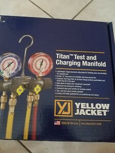 Yellow Jacket 49967 Titan 4 valve Test And Charging Manifold 60 Inch Hoses