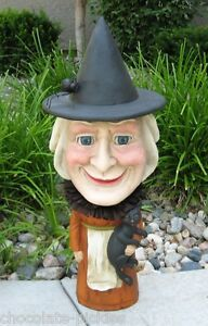 Big Gnome Style Witch Statue Black Cat Spider Fall Halloween Decor Bethany Lowe